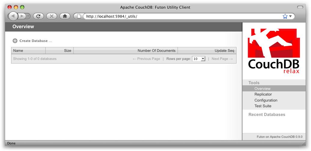 The Futon Welcome Screen